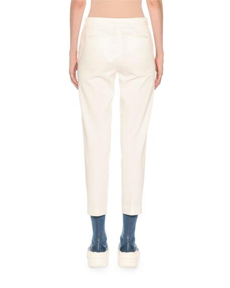Agnona Cotton Crepe Slim Tapered-Leg Trousers