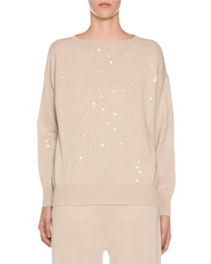 9f2fdb7484c270 Agnona Sequined-Cashmere Crewneck Sweater