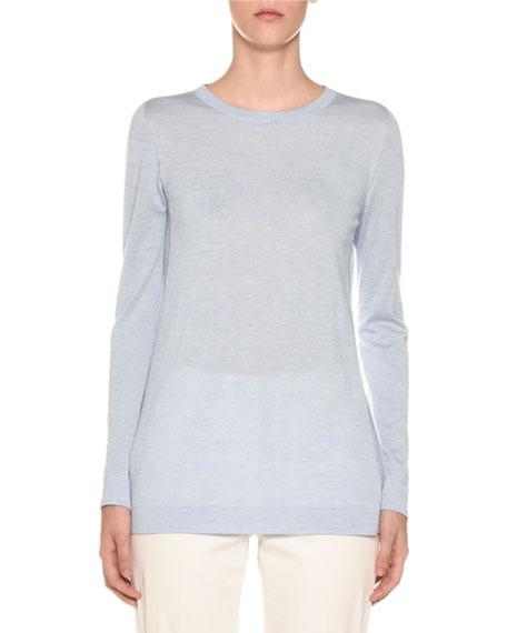 Agnona Crewneck Long-Sleeve Cashmere-Silk Sweater