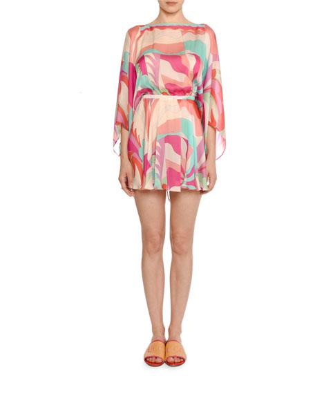 Emilio Pucci Acapulco 3/4-Sleeve V-Back Mini Dress