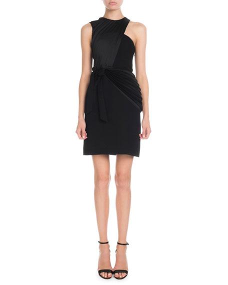 Victoria Victoria Beckham Sleeveless Crossover Pleat Mini Shift Dress