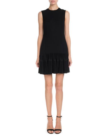 Victoria Victoria Beckham Sleeveless Round-Neck Shift Dress w/ Flounce Hem