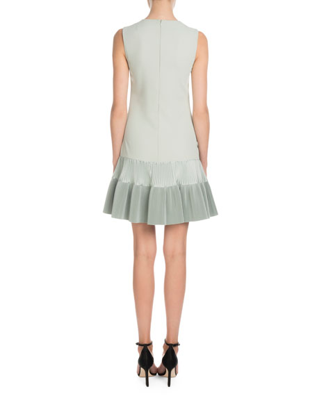 Victoria Victoria Beckham Sleeveless A-Line Crepe Dress w/ Flounce Hem