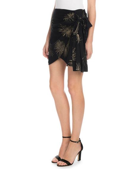 Victoria Victoria Beckham Side-Tie Metallic Fireworks-Jacquard Mini Skirt