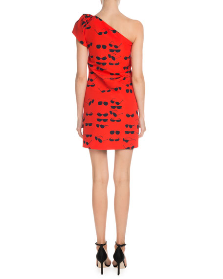 Victoria Victoria Beckham One-Shoulder Sunglasses-Print Short Shift Dress
