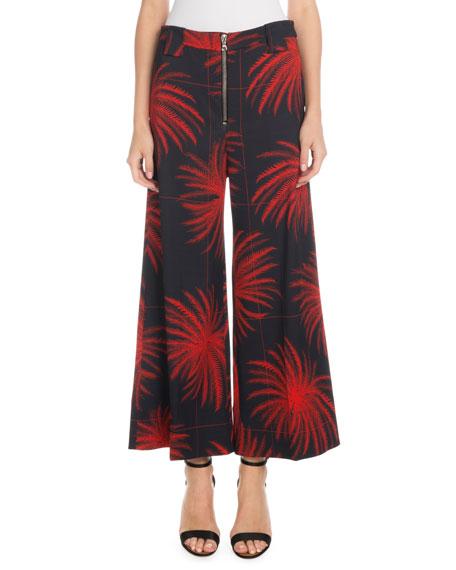 Victoria Victoria Beckham Cropped Wide-Leg Fireworks-Print Culottes