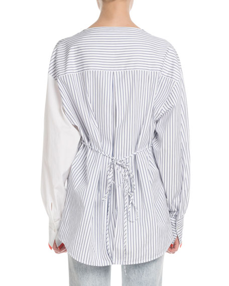 Victoria Victoria Beckham Split-Neck Long-Sleeve Pinstripe Cotton Blouse