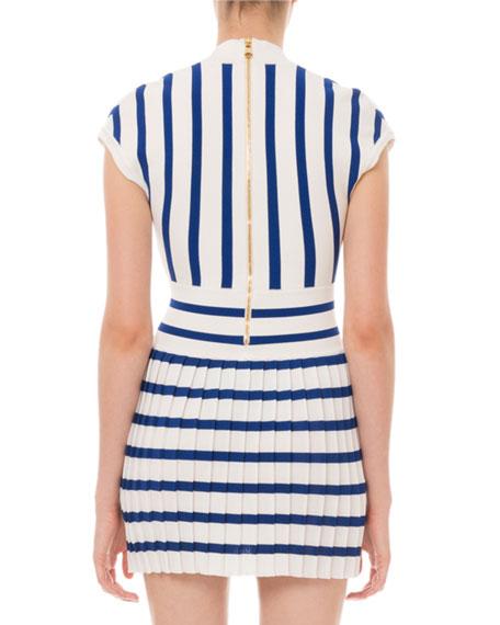 Balmain Striped Pleated-Skirt Mini Dress