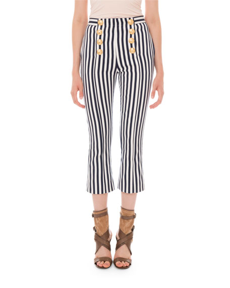 Balmain Striped Crop-Flare 8-Button Pants