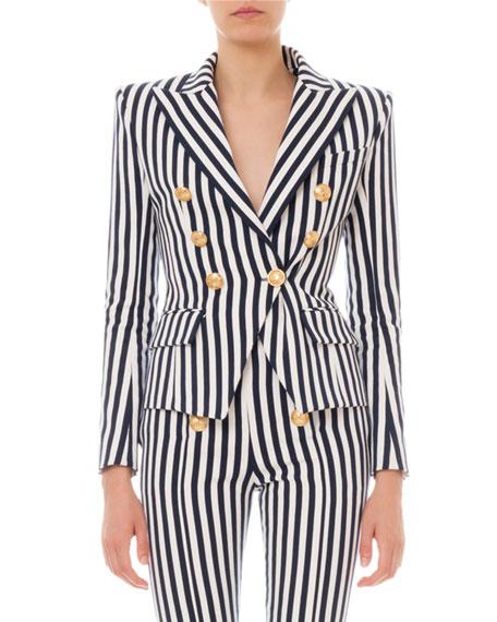 Balmain Striped Six-Button Cotton Blazer