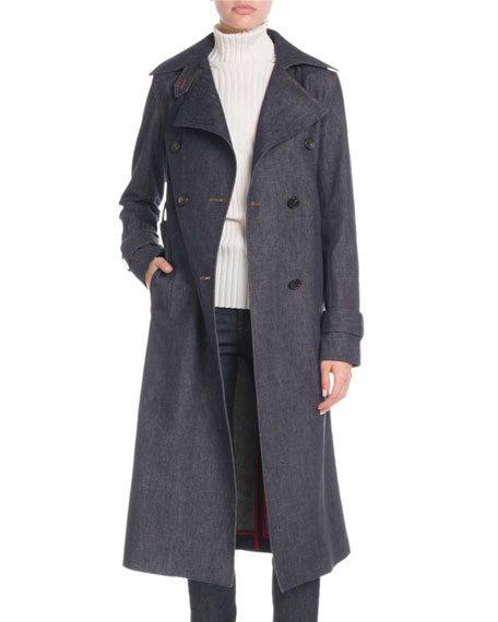 Victoria Beckham DENIM DOUBLE-BREASTED TRENCH COAT