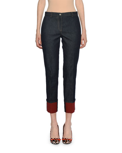Cropped Cuffed Denim Pants