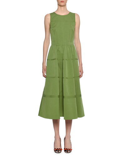 Sleeveless Boat-Neck Midi Dress with Pockets