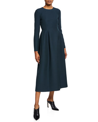 Lorna Crewneck Long-Sleeve Midi Dress