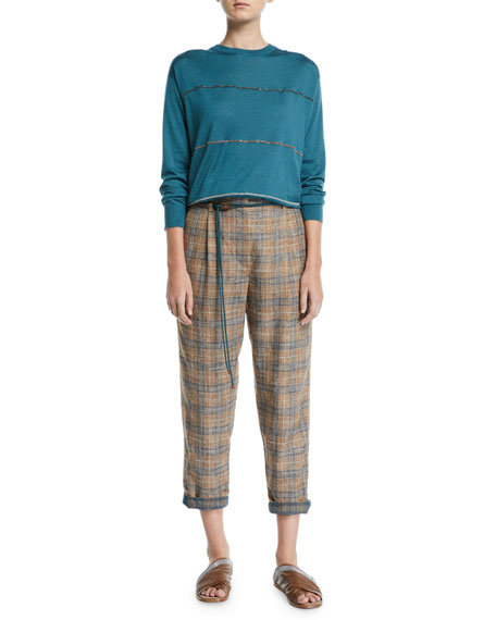 Brunello Cucinelli Plaid Linen Rope-Waist Crop Pants