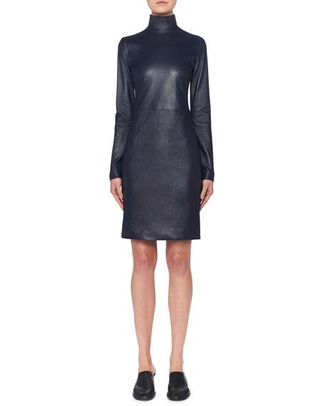 THE ROW Beattia Leather Turtleneck Long-Sleeve Body-Con Dress