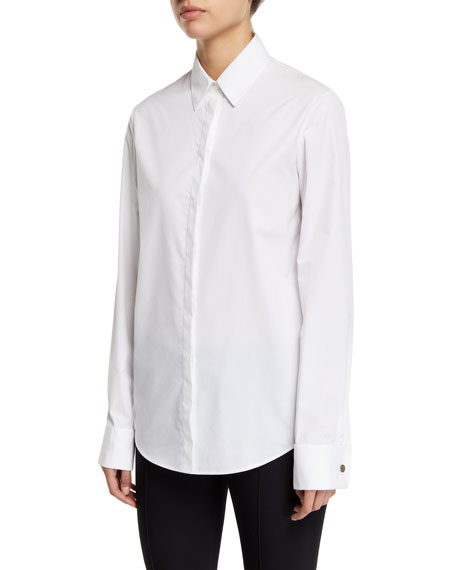 THE ROW Pete Button-Front Cotton Shirt
