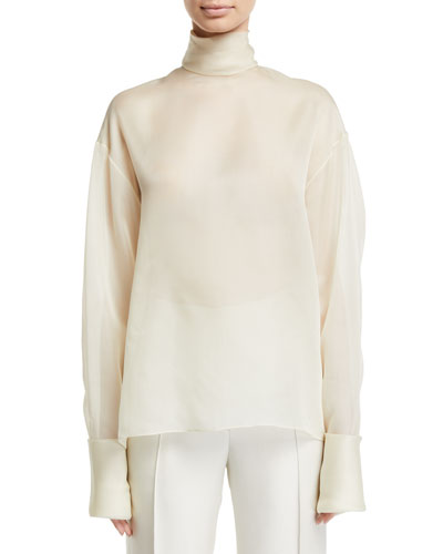 Karlee Silk Chiffon Turtleneck Blouse