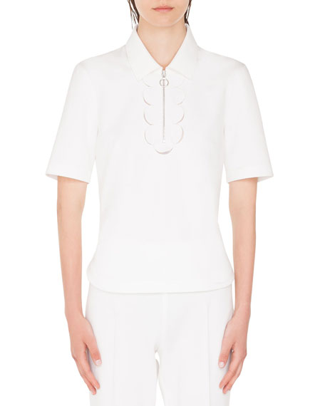 Akris punto Memphis-Scalloped Collared 1/2-Sleeve Polo