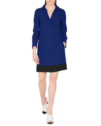 Viscose-Blend Shirtdress with Gathered Sleeves
