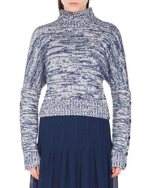 ae0d8d257ee Akris punto Turtleneck Chunky-Melange Knit Sweater