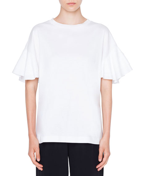 Akris punto Flutter-Sleeve Cotton T-Shirt