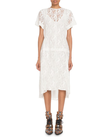 Chloe Short-Sleeve Heritage Horse-Lace Dress