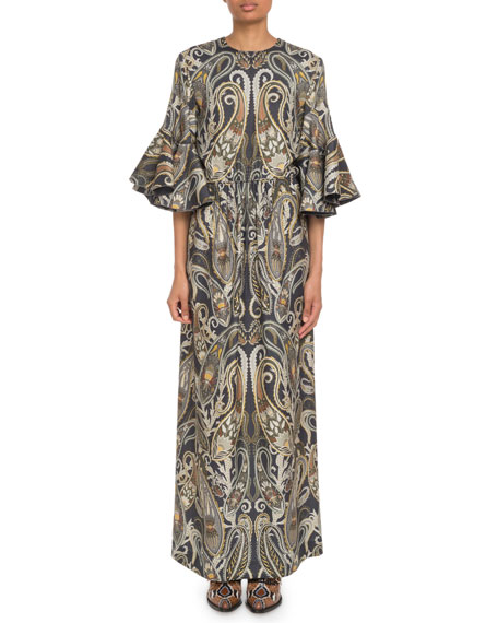Chloe Flare-Sleeve Paisley Maxi Dress