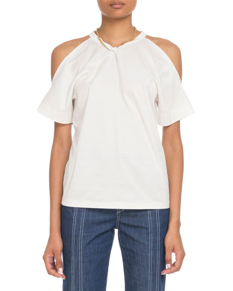 Chloe Cold-Shoulder Chain-Neck Cotton T-Shirt