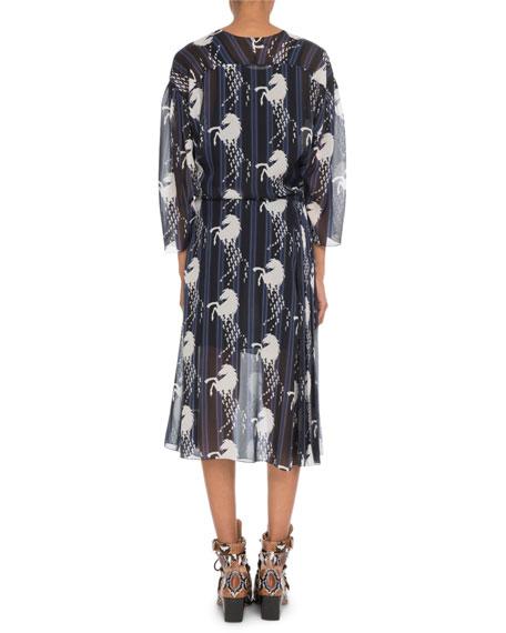 Chloe Bracelet-Sleeve Horse-Print Georgette Midi Dress