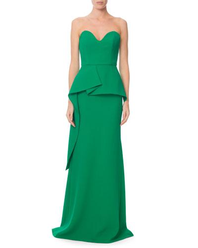 Bond Strapless Sweetheart Peplum Gown