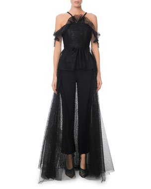 49edb24ae7c Roland Mouret Kendray Cold-Shoulder Ruffled Dotted Tulle-Back Jumpsuit
