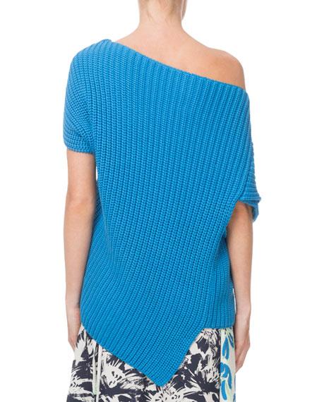 Roland Mouret Moran Draped One-Shoulder Ribbed Sweater