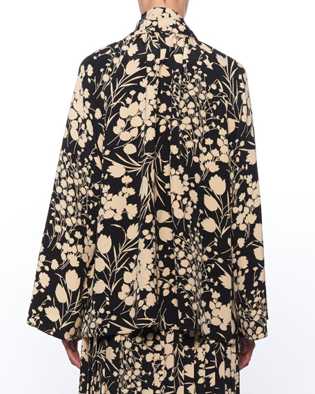 THE ROW Merrian Mock-Neck Floral-Print Pleated Silk Top