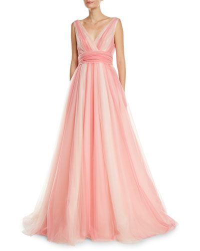 V-Neck Belted Ombre-Tulle A-Line Gown