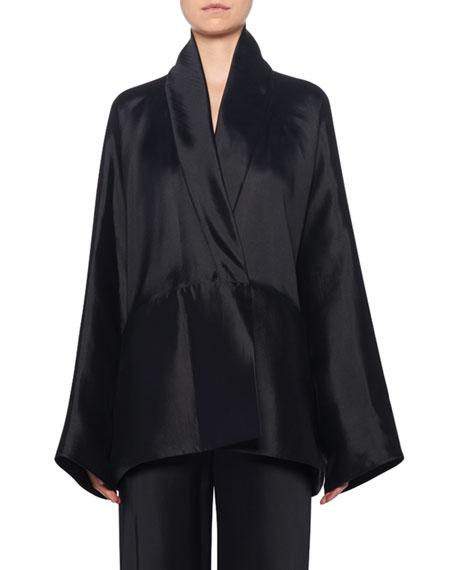 THE ROW Pernia Wrapped Silk Jacket,  Black