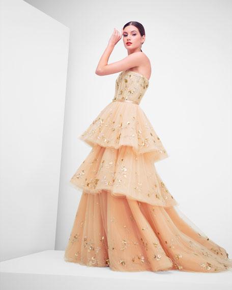 Carolina Herrera Strapless Floral-Embroidered Three-Tiered Tulle Ballgown