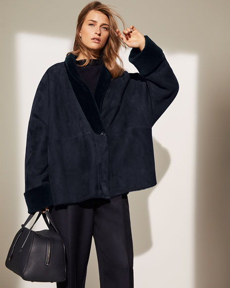 THE ROW Pernia Shearling-Trim Wrapped Jacket, Navy