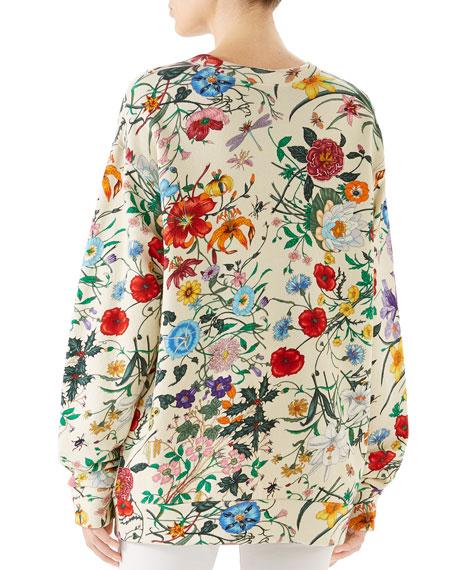 Gucci Flora Oversized Heavy Felt Logo Sweatshirt