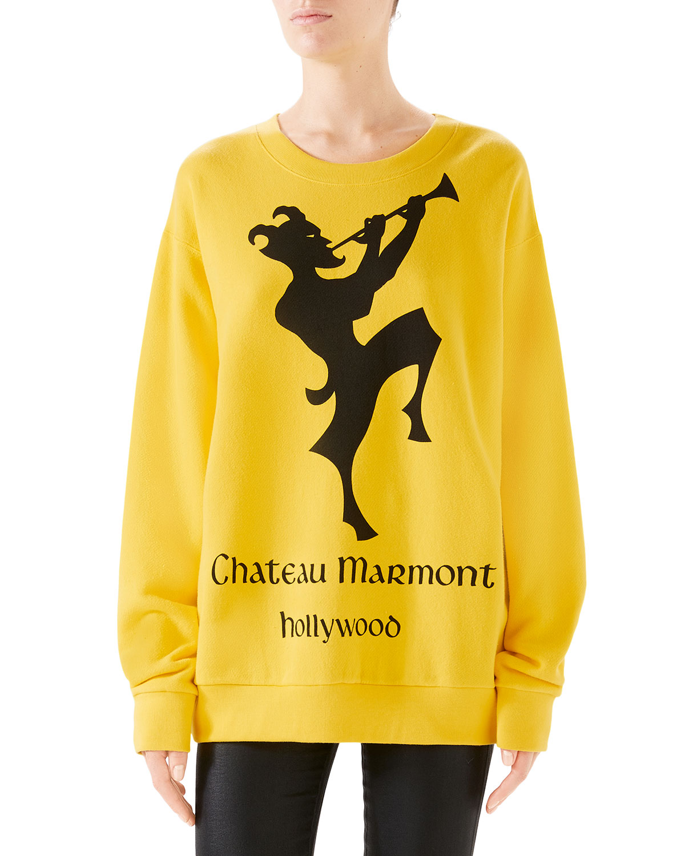 289a83b75967 Gucci Oversized Printed Heavy Felt Sweatshirt | Neiman Marcus