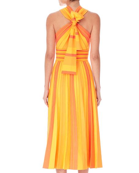 Carolina Herrera Striped Knit Halter Midi Dress