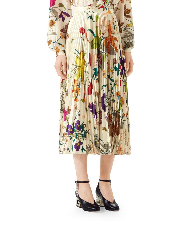 5f145d597d Gucci Flora Gothic Pleated Silk Skirt | Neiman Marcus