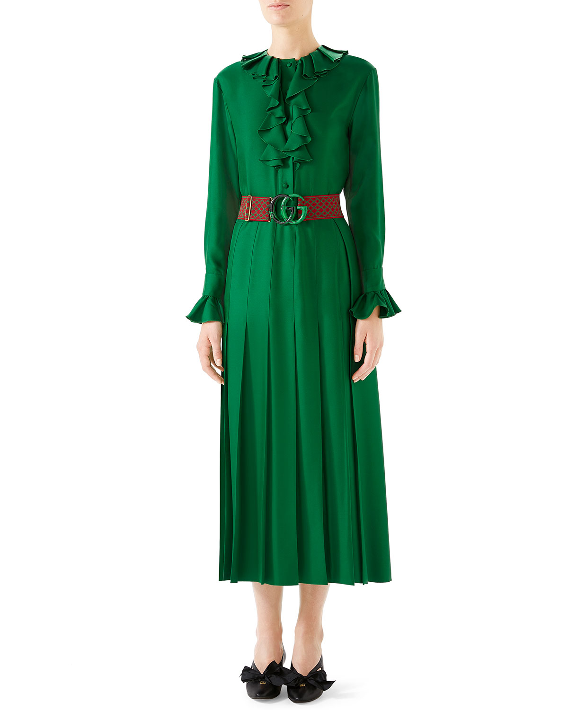 9a8da6baa7a Gucci Belted Ruffle-Trim Silk Twill Peasant Dress