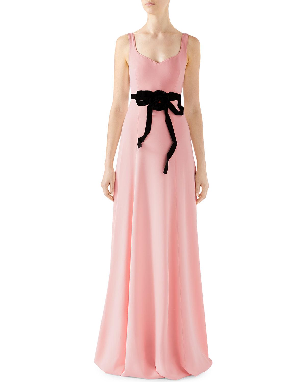 fdb4971576d Gucci Sleeveless Technical Jersey Dress w/ Removable Flower Brooch ...