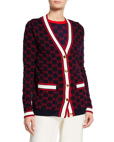 Gucci Ribbon-Trim Button Front Cardigan