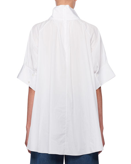 THE ROW Abel Stand-Collar Short-Sleeve Poplin Blouse
