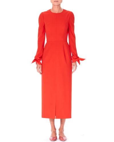 Knotted-Cuff Midi Sheath Dress