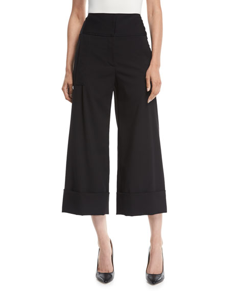 Carolina Herrera HIGH-RISE CROPPED WIDE-LEG PANTS