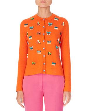 af84440f1b67 Carolina Herrera Animal-Embroidered Cashmere-Silk Cardigan