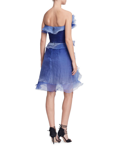 6b55d765ebc Image 2 of 2  Marchesa Strapless Ombre Ruffled-Silk Cocktail Dress